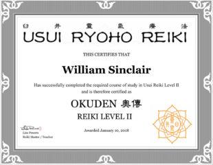 William Sinclair Reiki Certificate