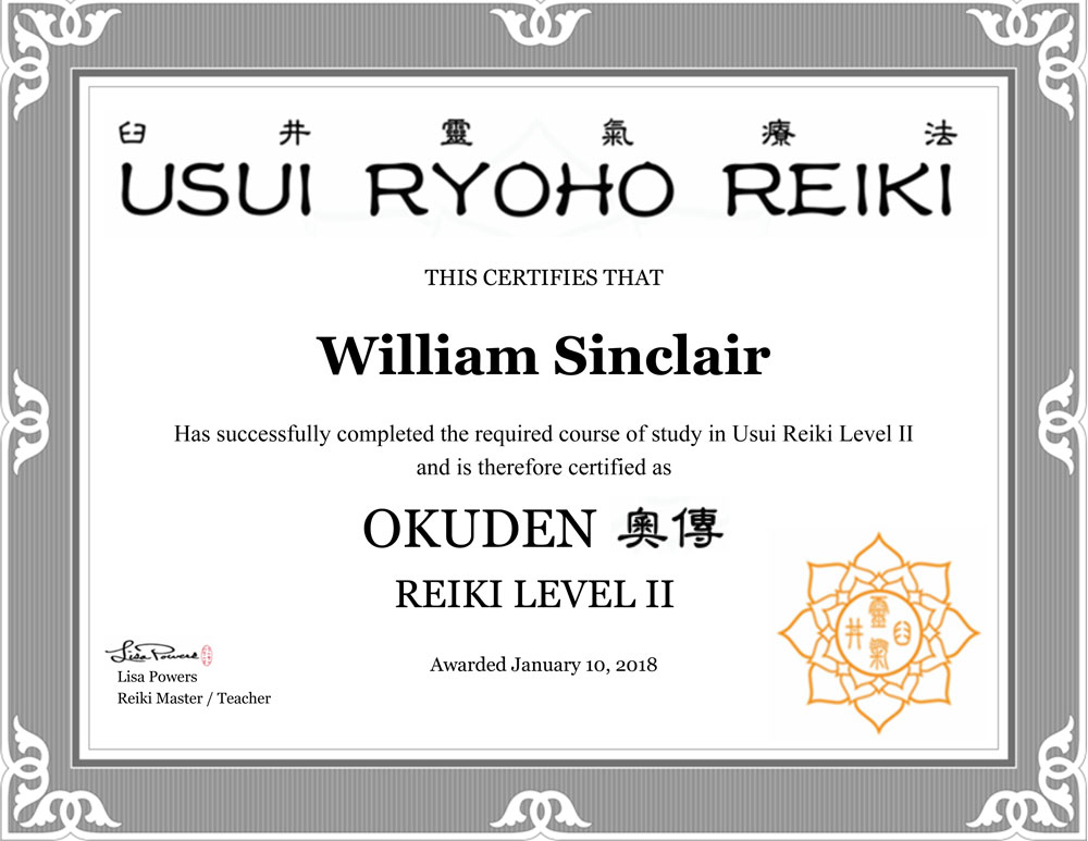 William Sinclair Reiki Certificate
